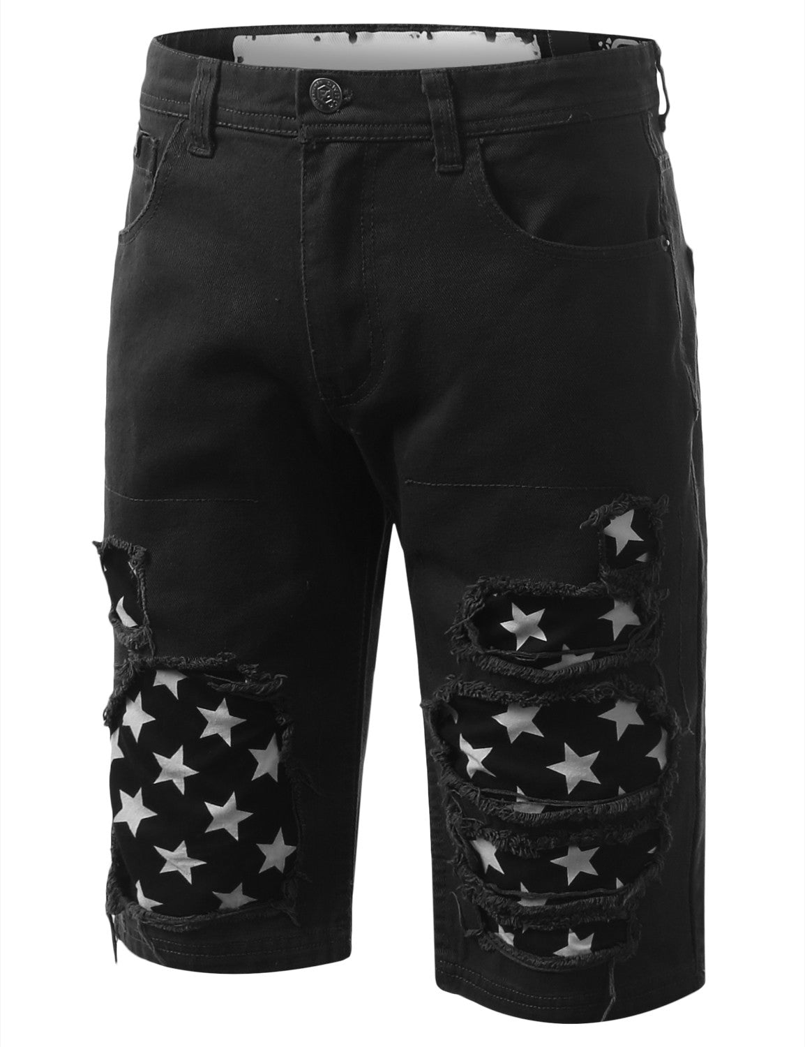 Rip Star Patch Denim Shorts - URBANCREWS - 4