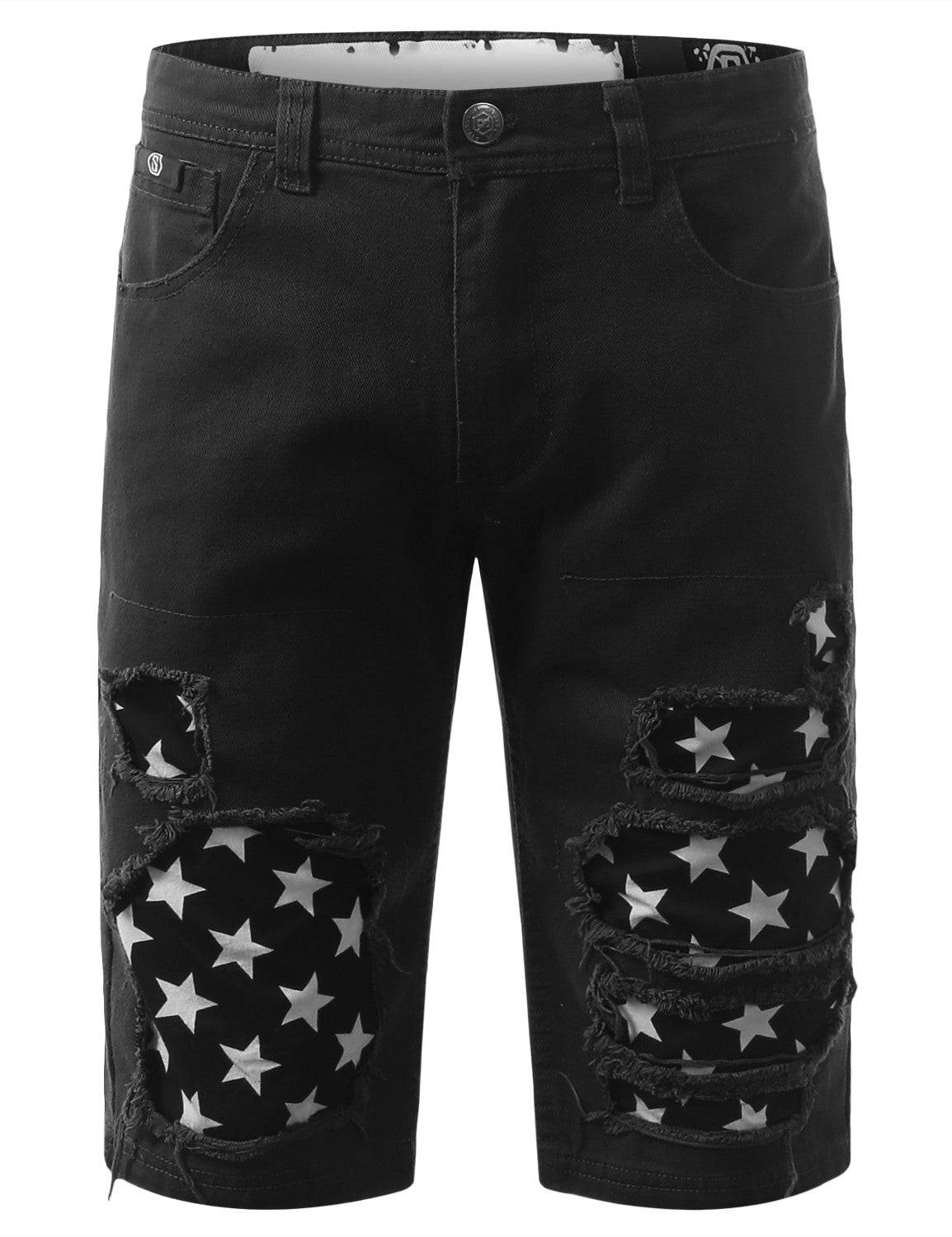 Rip Star Patch Denim Shorts - URBANCREWS - 5