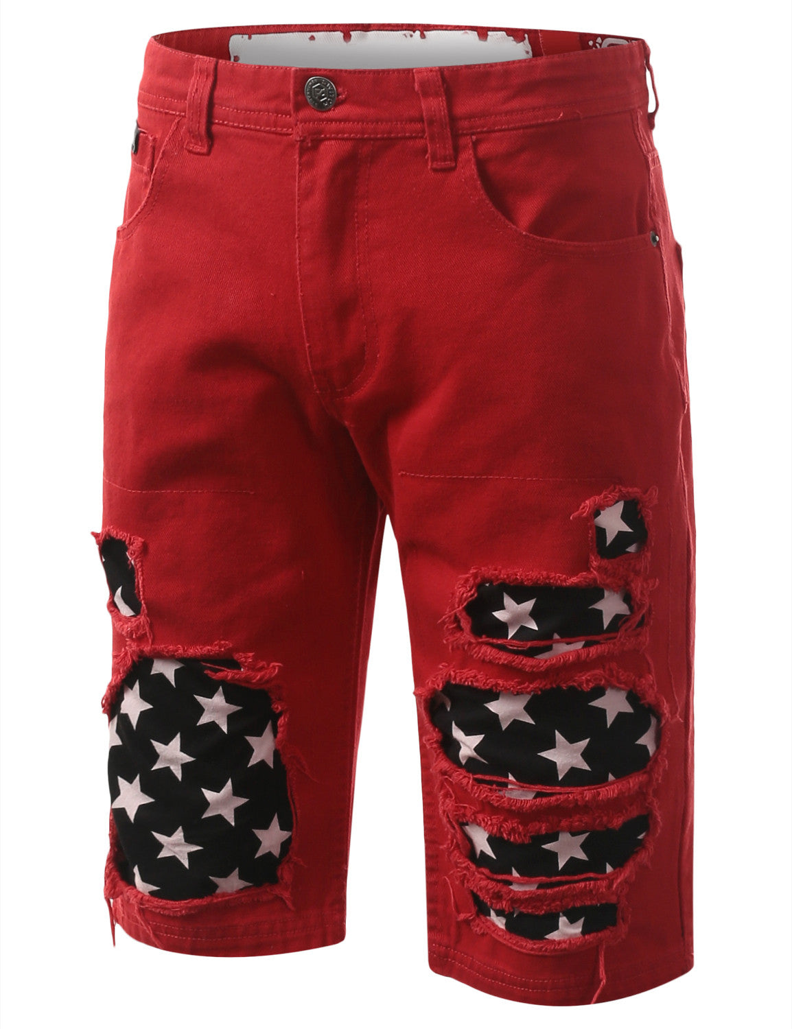 Rip Star Patch Denim Shorts - URBANCREWS - 1