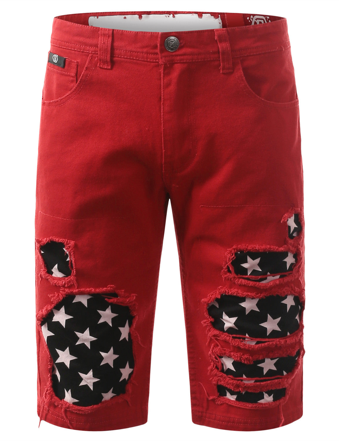 Rip Star Patch Denim Shorts - URBANCREWS - 2