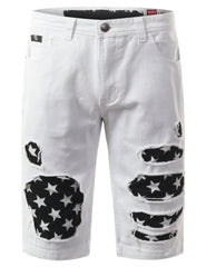 Rip Star Patch Denim Shorts - URBANCREWS - 8