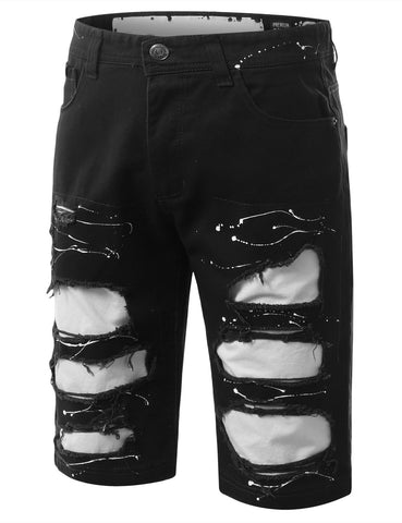 Splatter Rip Denim Shorts