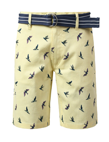 Flybirds Printed Twill Belted Shorts