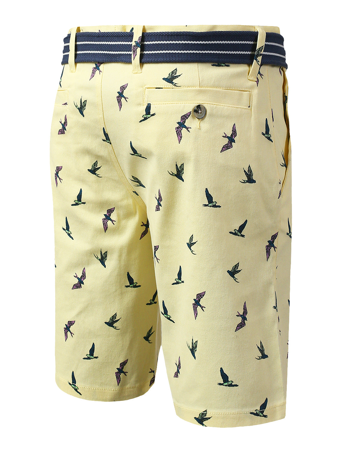 YELLOW Flybirds Printed Twill Belted Shorts - URBANCREWS