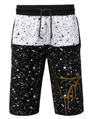 BLACK Splatter Bulls Print Shorts Pants - URBANCREWS