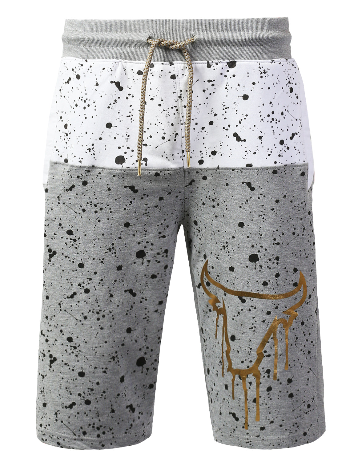HGRAY Splatter Bulls Print Shorts Pants - URBANCREWS