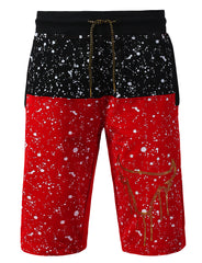 RED Splatter Bulls Print Shorts Pants - URBANCREWS
