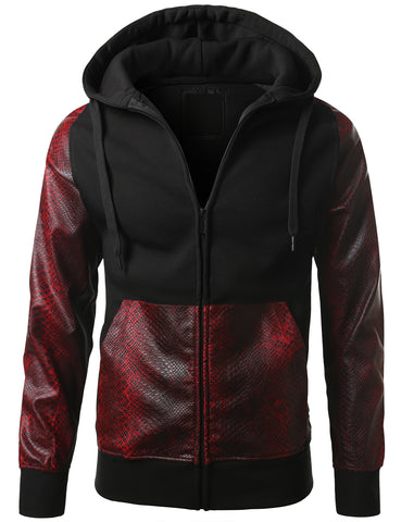 URBANCREWS Mens Hipster Hip Hop Alligator PU Trim Hooded Jacket BKRED