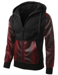 BKRED - Alligator PU Trim Hooded Jacket BKRED MEDIUM