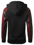 BKRED - Alligator PU Trim Hooded Jacket BKRED LARGE