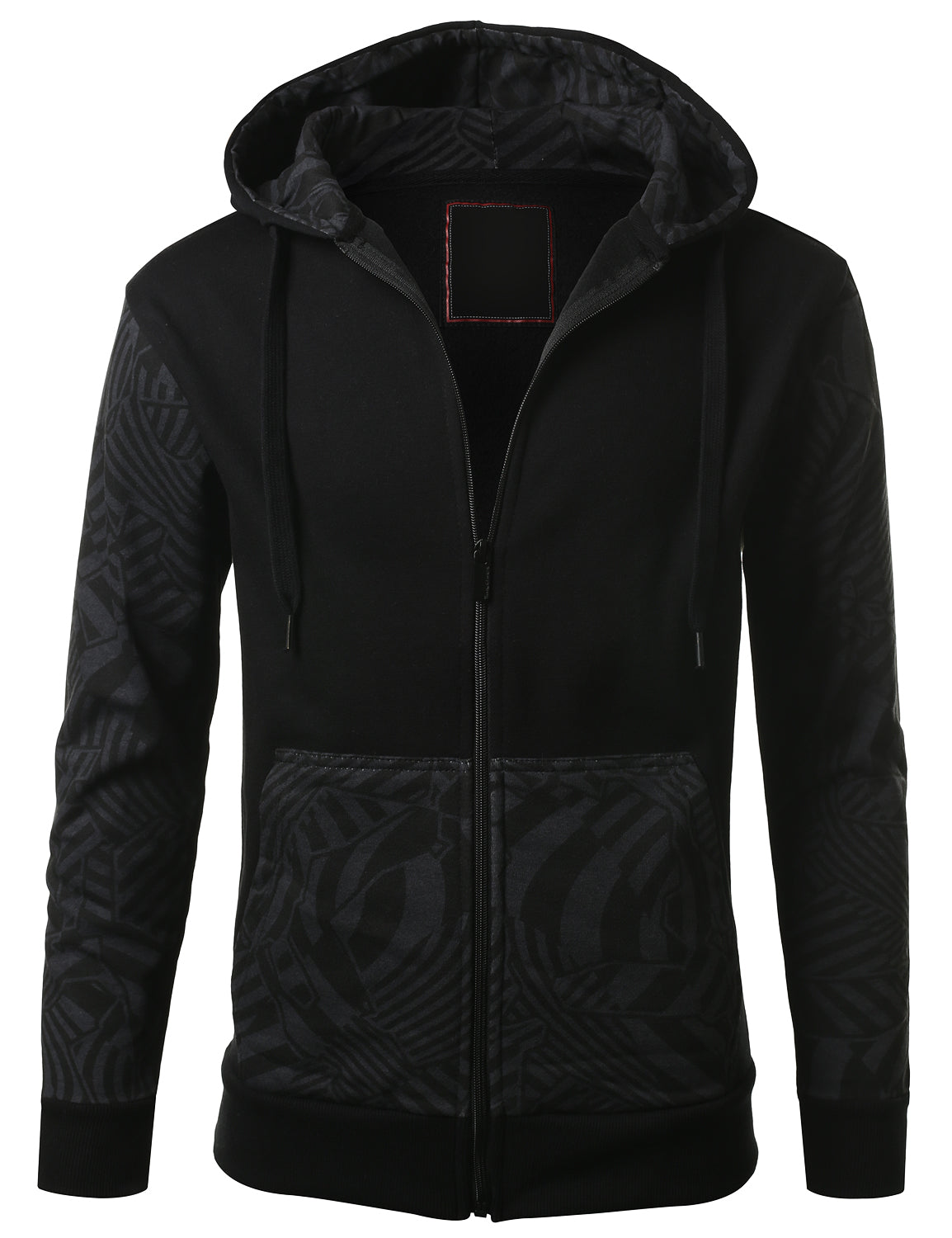 BLACK - Geometric Print Hooded Jacket BLACK SMALL