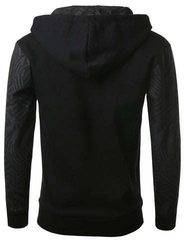 URBANCREWS Mens Hipster Hip Hop Geometric Print Hooded Jacket BLACK