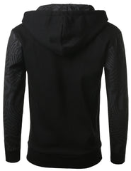 BLACK - Geometric Print Hooded Jacket BLACK LARGE