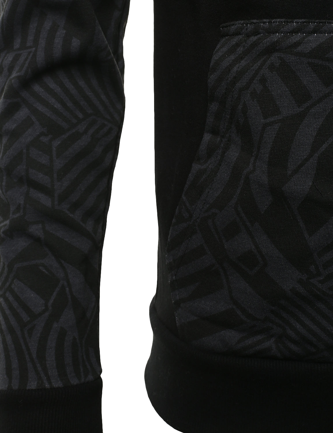 BLACK - Geometric Print Hooded Jacket BLACK XLARGE
