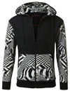 WHITE - Geometric Print Hooded Jacket WHITE SMALL