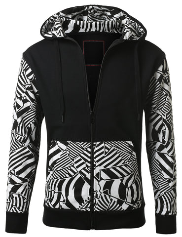 URBANCREWS Mens Hipster Hip Hop Geometric Print Hooded Jacket WHITE