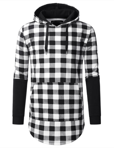URBANCREWS Mens Hipster Hip Hop Plaid Checkered Long Hoodie Jacket BLACK