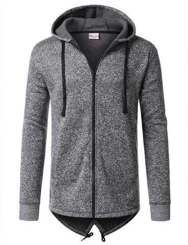 Basic Heather Zip Hoodie Jacket with Longline Detail
