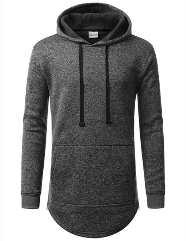 Basic Marbled Fleece Pullover Hoodie Jacket