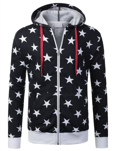 USA Flag Star Zip-Up Hoodie Jacket