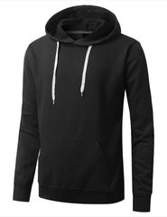 BLACK Basic Long Sleeve Pullover Hoodie - URBANCREWS