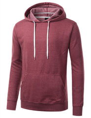 BURGUNDY Basic Long Sleeve Pullover Hoodie - URBANCREWS
