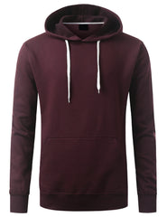 DKBURGUNDY Basic Long Sleeve Pullover Hoodie - URBANCREWS