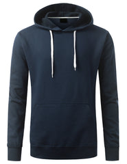 NAVY Basic Long Sleeve Pullover Hoodie - URBANCREWS