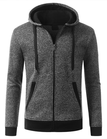 Marled Fleece Full Zip Hoodie Jacket