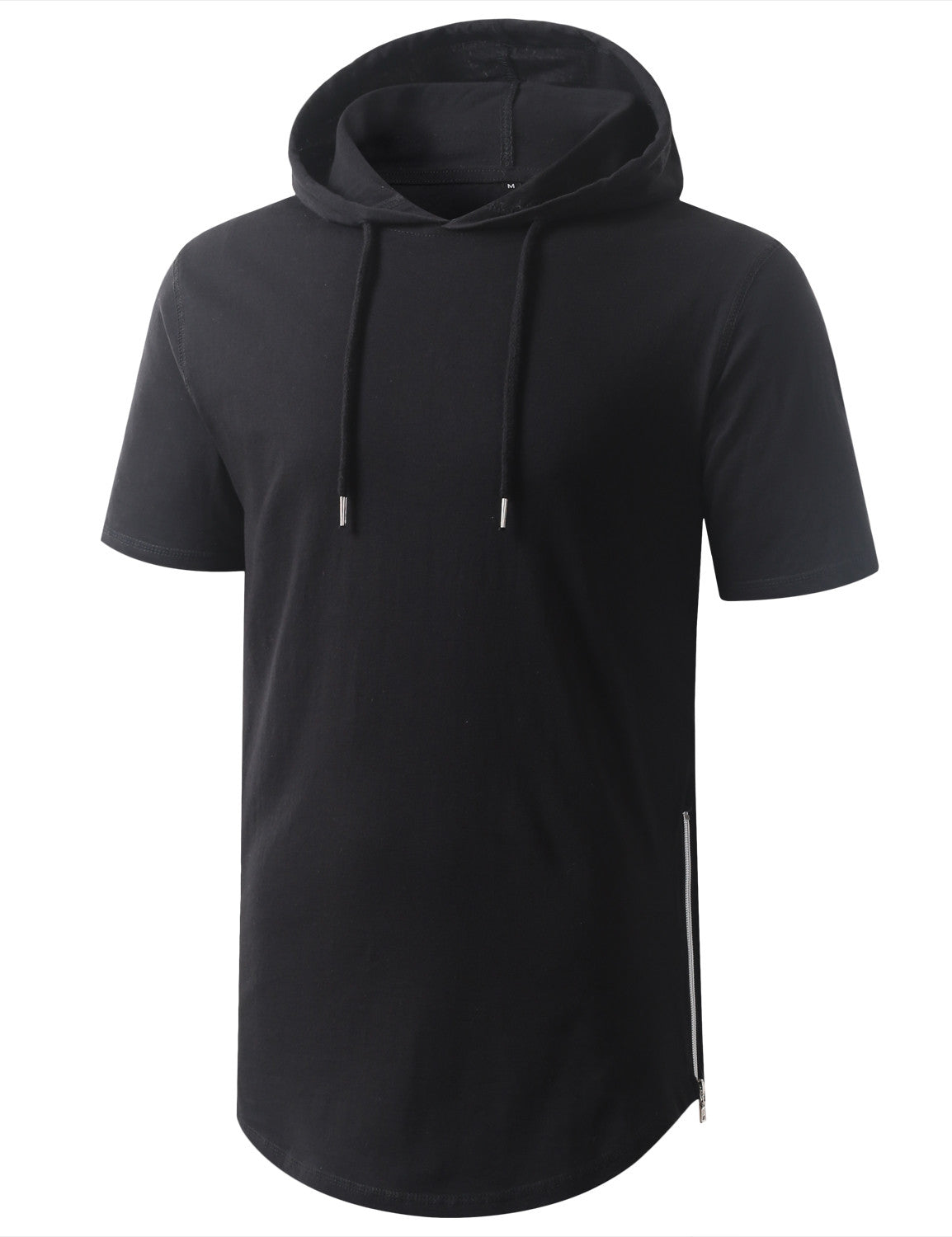 BLACK Longline Short Sleeve Hoodie with Side Zipper