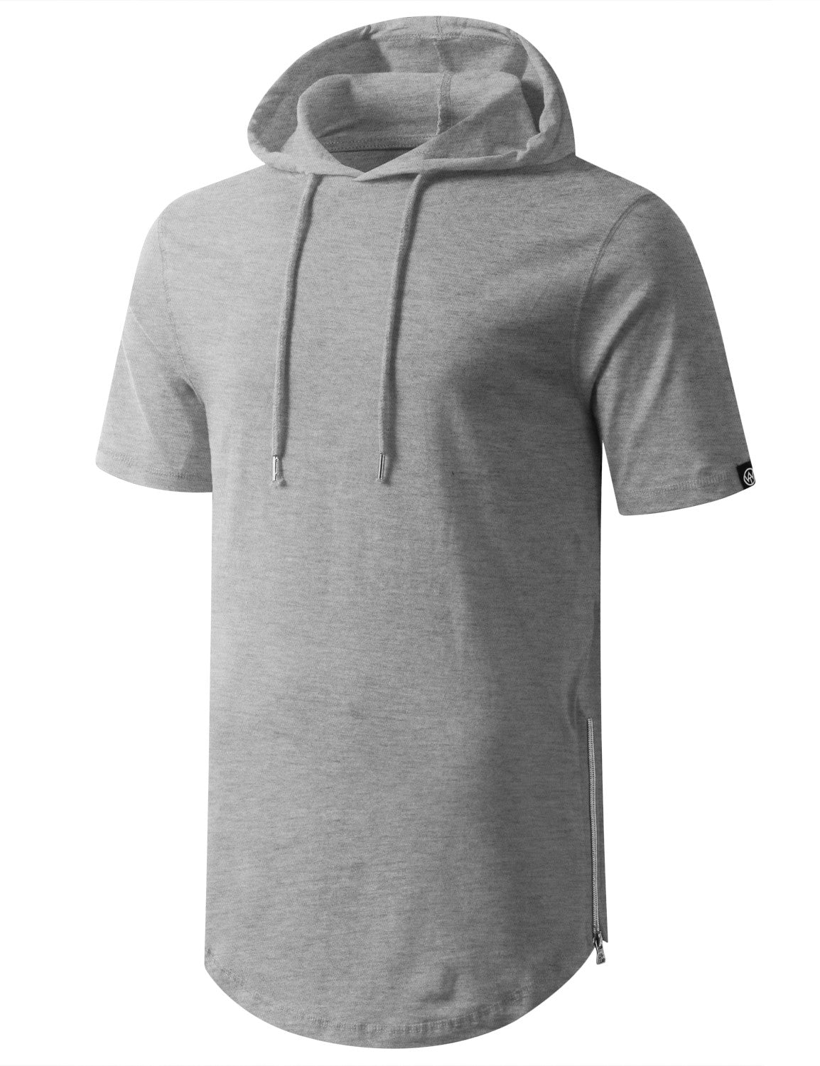 HGRAY Longline Short Sleeve Hoodie with Side Zipper