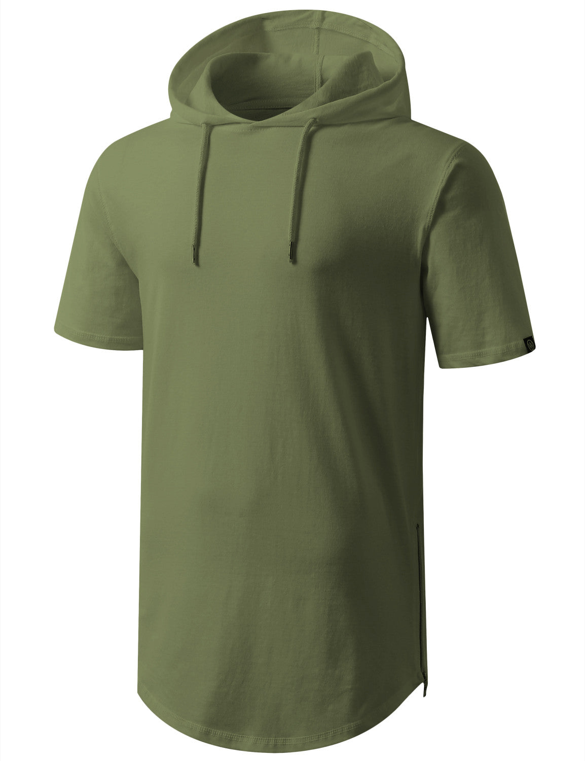 LTOLIVE Longline Short Sleeve Hoodie with Side Zipper