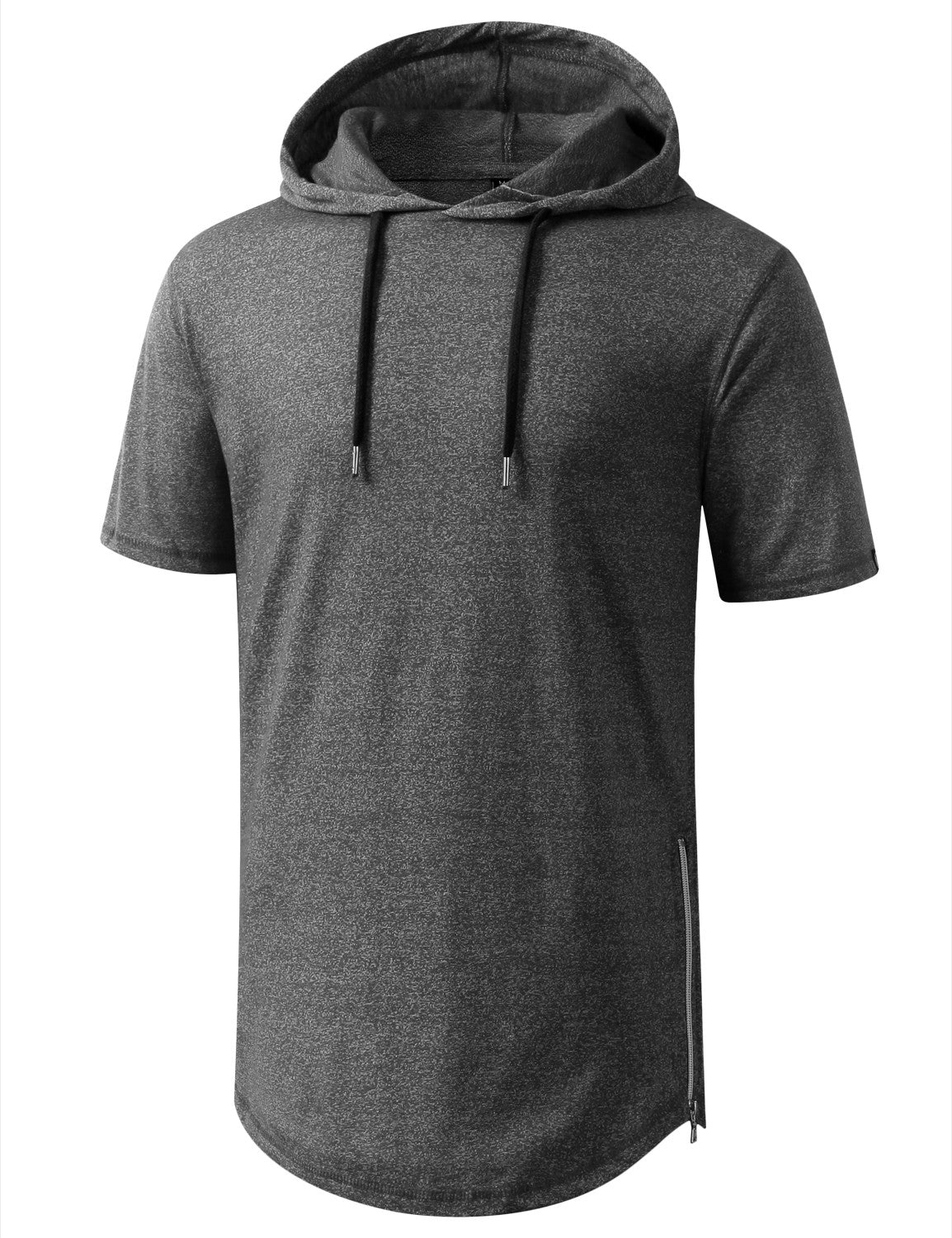 MARLEDBLACK Longline Short Sleeve Hoodie with Side Zipper