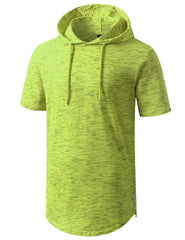 MARLEDLIME Longline Short Sleeve Hoodie with Side Zipper