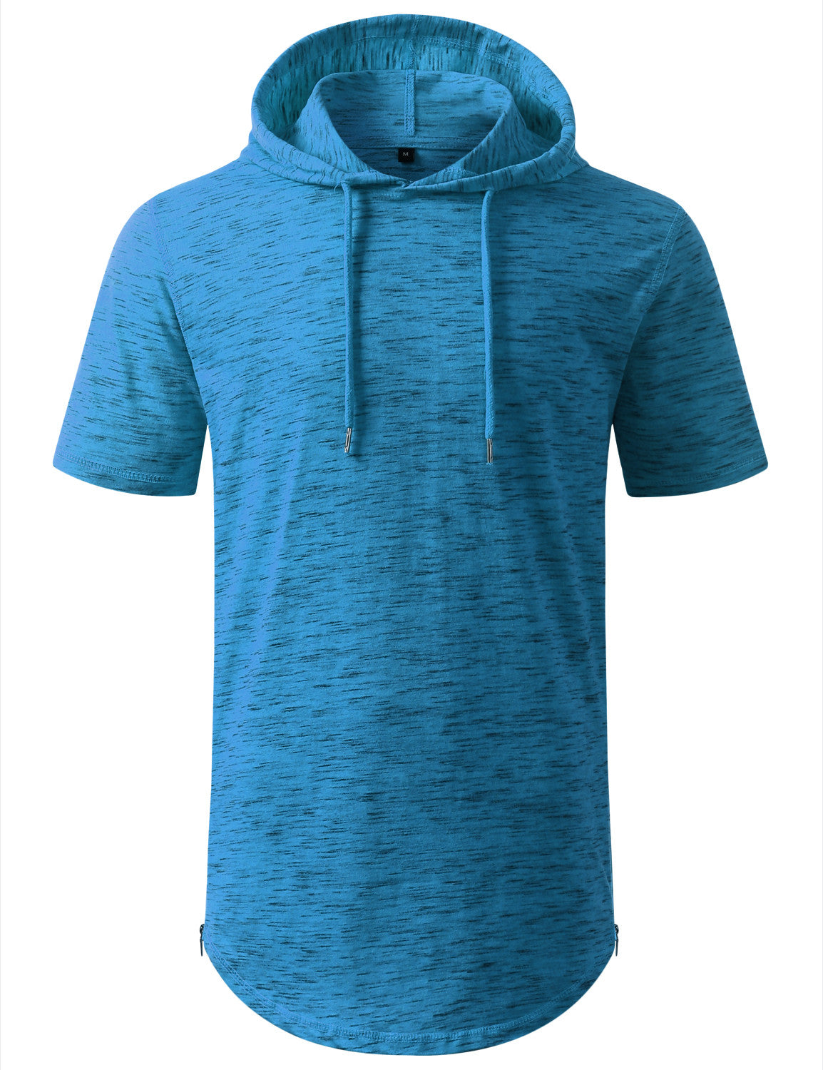 MARLEDLTBLUE Longline Short Sleeve Hoodie with Side Zipper