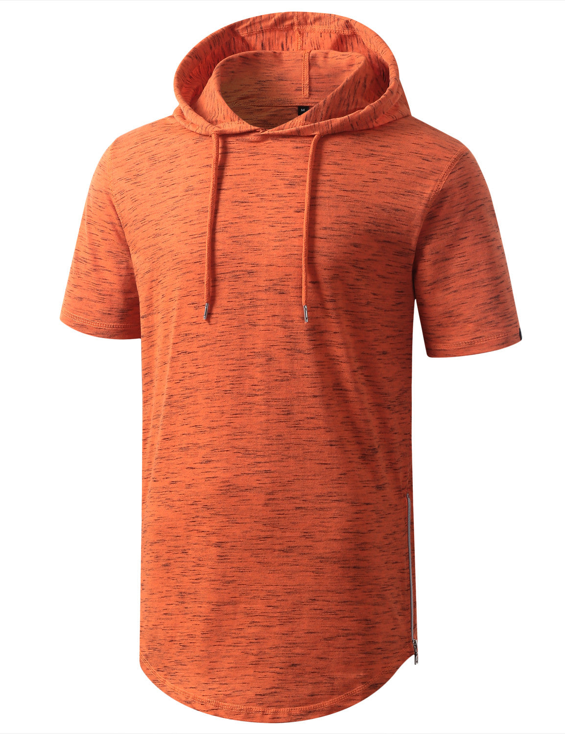 MARLEDORG Longline Short Sleeve Hoodie with Side Zipper