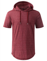 MARLEDRED Longline Short Sleeve Hoodie with Side Zipper