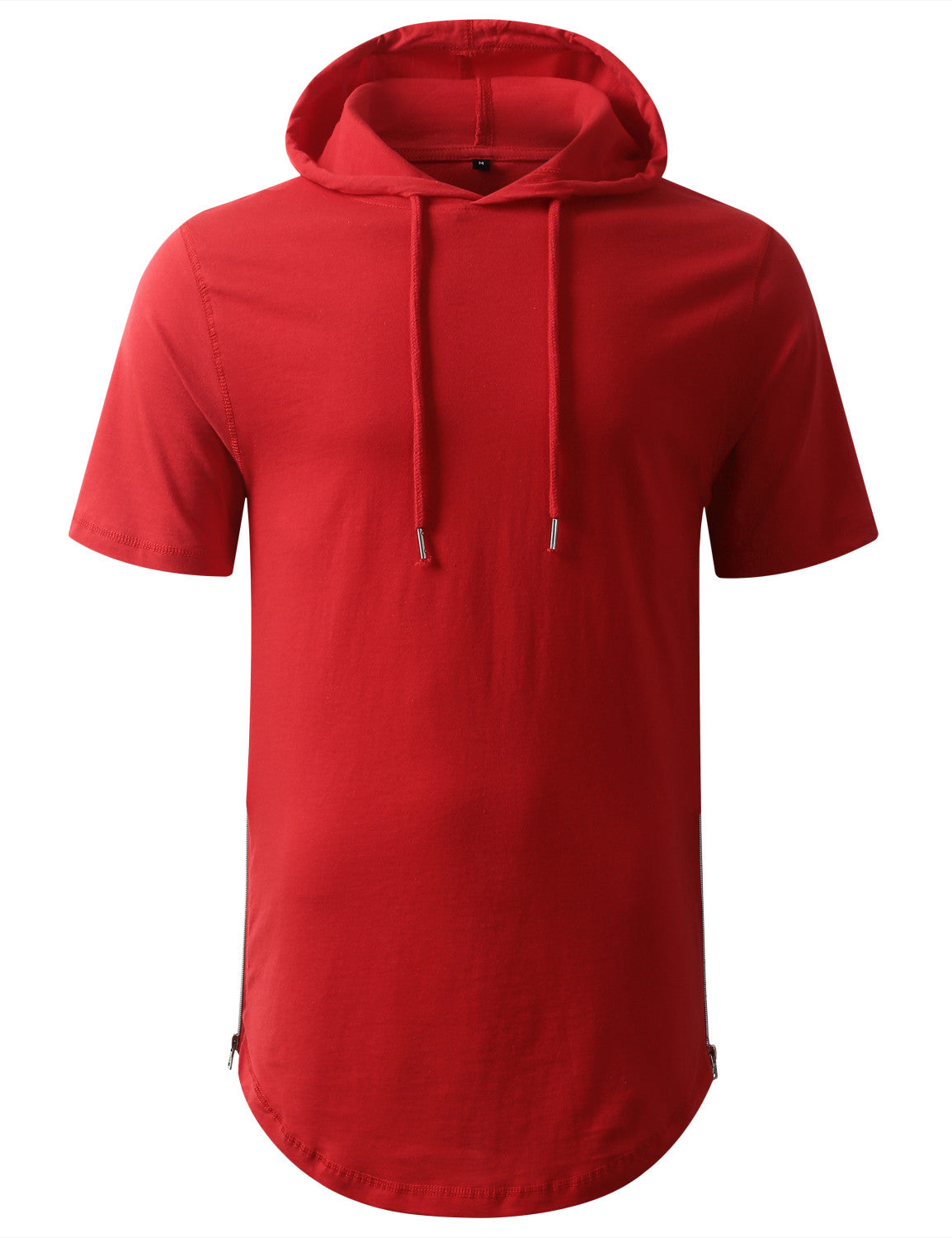 RED Longline Short Sleeve Hoodie with Side Zipper