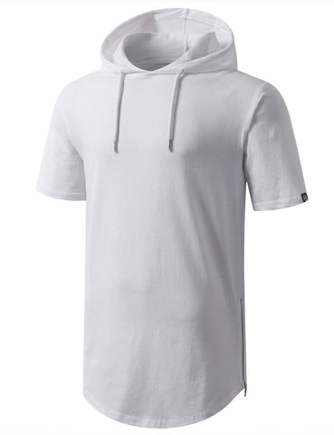 Longline Short Sleeve Hoodie with Side Zipper