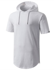 WHITE Longline Short Sleeve Hoodie with Side Zipper