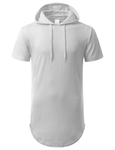 Drawstring Longline Hoodie with Side Zipper