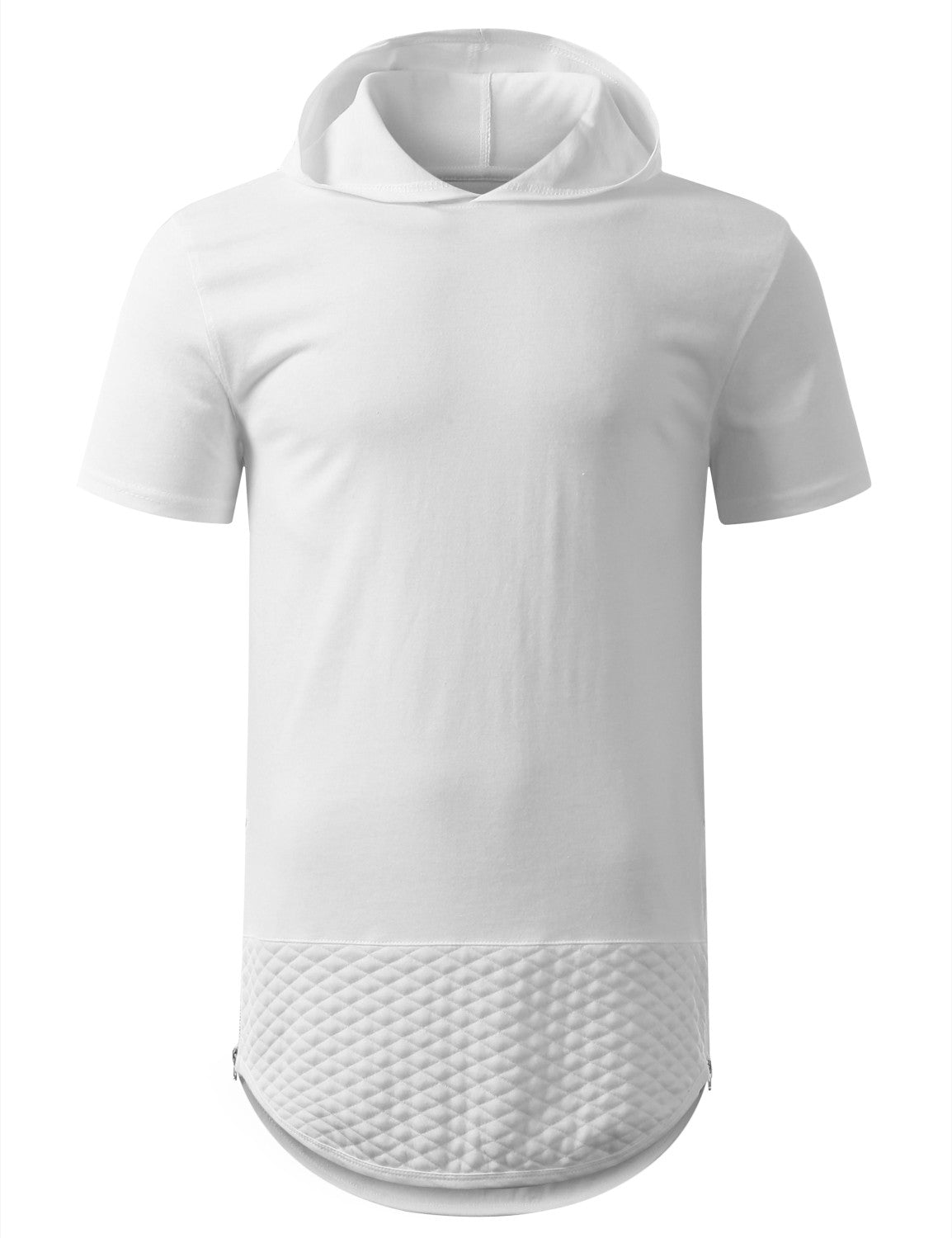 WHITEWHITE QUILTED LONGLINE HOODIE