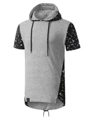 HGRAYBLACK Splatter Design Short Sleeve Hoodie- URBANCREWS