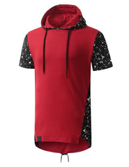 REDBLACK Splatter Design Short Sleeve Hoodie- URBANCREWS