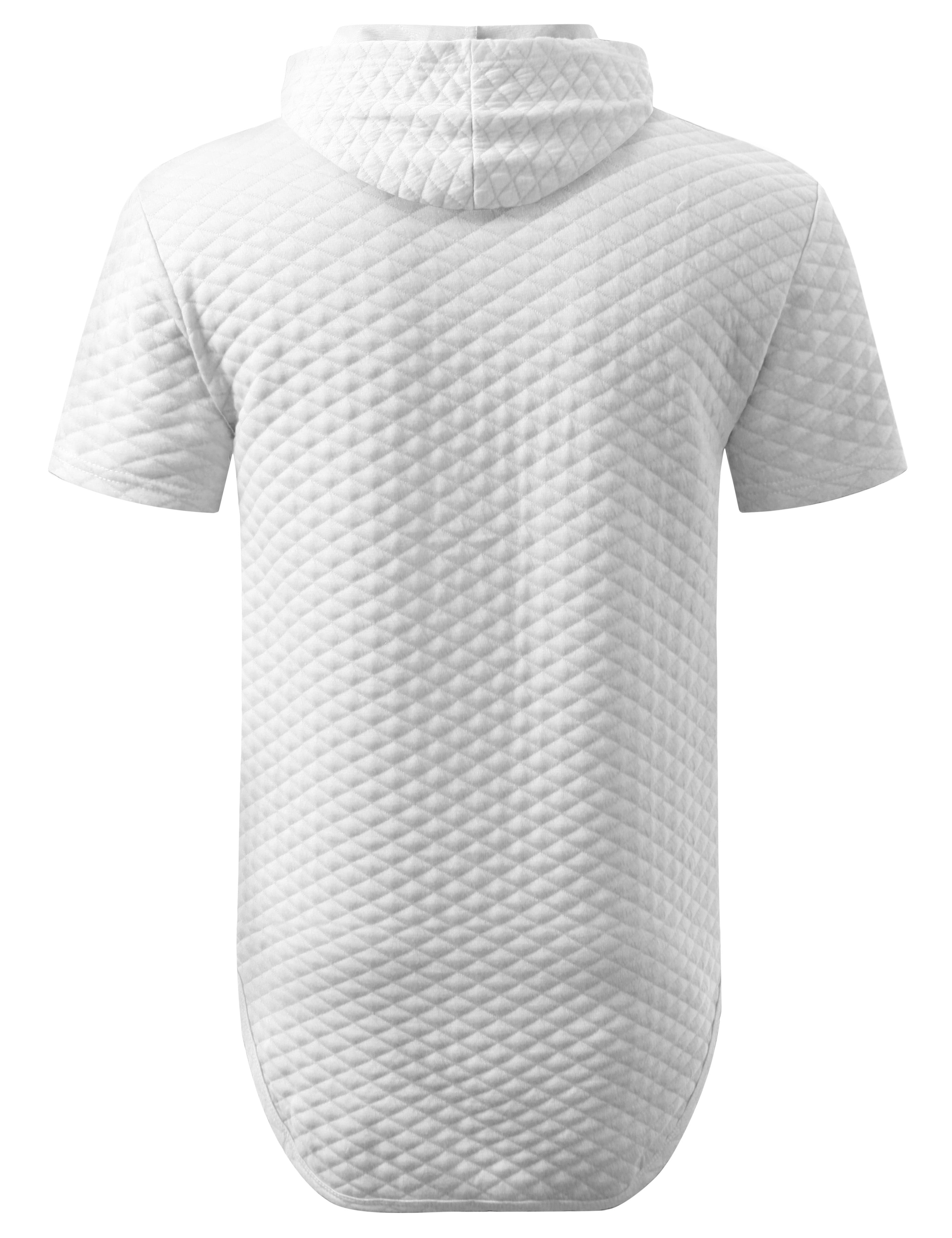 WHITE Quilted Short Sleeve Hoodie Shirt - URBANCREWS