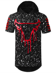 BLACKRED Splatter Bulls Short Sleeve Hoodie - URBANCREWS