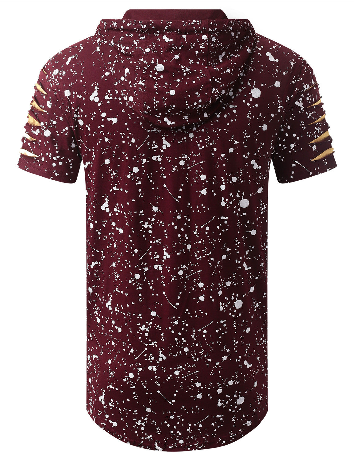 BURGUNDY Splatter Bulls Short Sleeve Hoodie - URBANCREWS