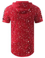 RED Splatter Bulls Short Sleeve Hoodie - URBANCREWS