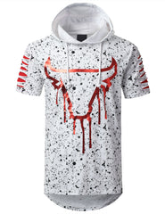 WHITE Splatter Bulls Short Sleeve Hoodie - URBANCREWS