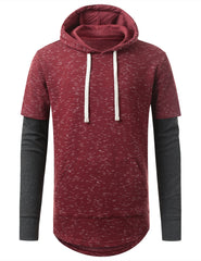 RED French Terry Long Pullover Hoodie Shirt - URBANCREWS